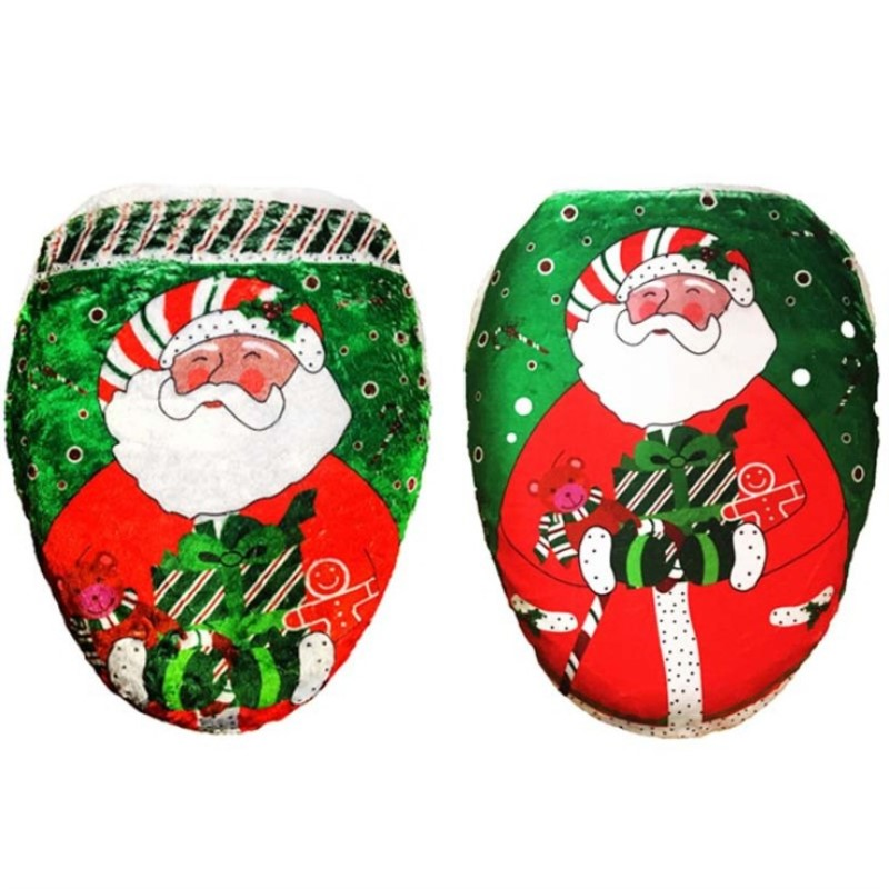 New Arrival 2016 Santa Claus Pattern Print Washable Toilet Seat Cover for Christmas Decoration Supplies image
