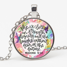 The most popular Bible verses necklace glass dome quote the gift of Christian faith jewelry  custom XKHLHJ