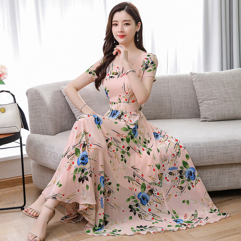US $20.18 30% OFF|Plus Size M 3XL Elegant Bohemian Style High Quality Short  Sleeve Round Collar Flower Printed Woman Chiffon Long Dress-in Dresses ...