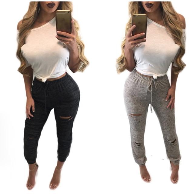 Leggings otoño de Las Mujeres Medio Cintura Empuja Hacia Arriba Atractivo Agujero Flaco Pantalones de La Manera Pantalones Elásticos Leggings Buttoms Sportwomen Negro