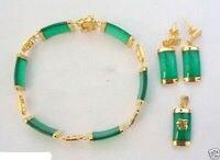 Vận Chuyển miễn Phí Green đá 18KGP Chí Fortune Pendant Necklace Bracelet Earrings Set