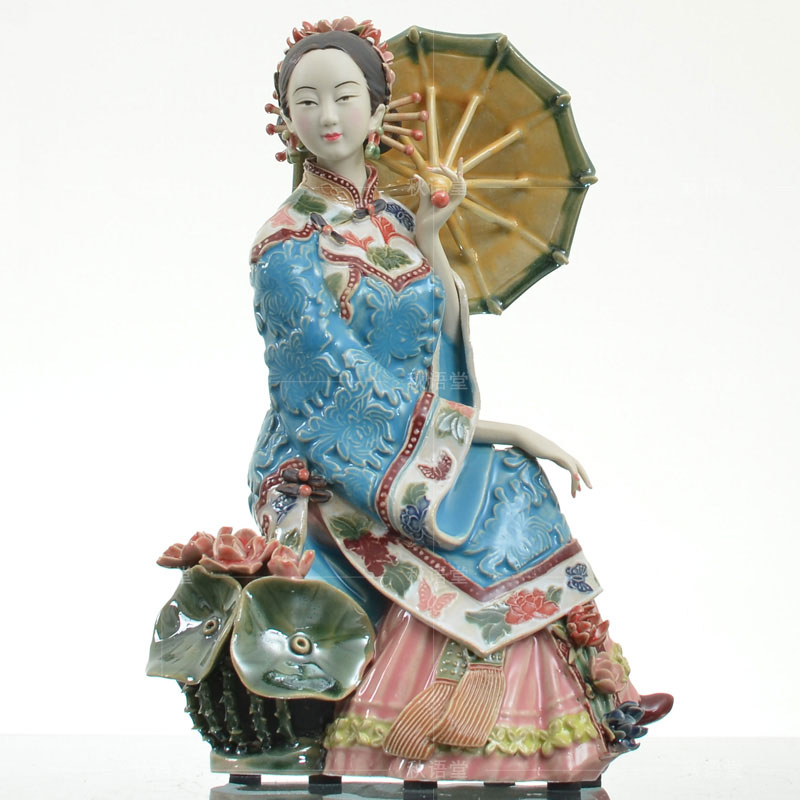 Vintage Chinese Oriental Asian Shiwan Art Pottery Figurine Sculptuer Home Decoration Ornament Porcelain Woman Statue Collections