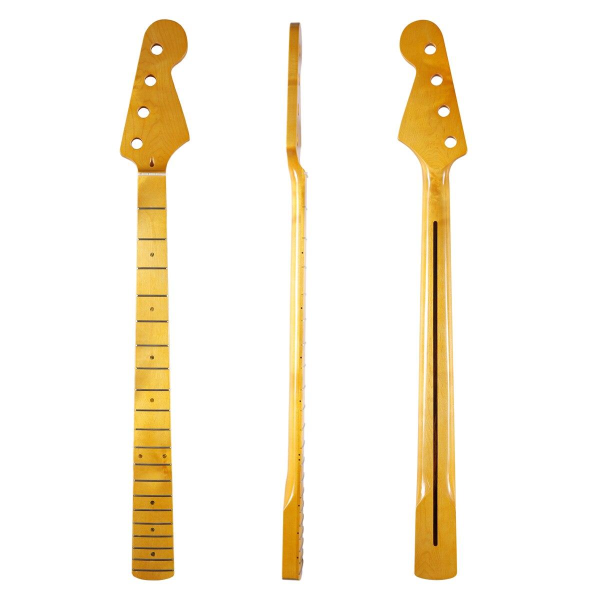 Dopro 20 frette 4 cordes électrique J basse canadienne érable cou de guitare avec incrustation de coquille d'ormeau et écrou d'os pour Jazz basse