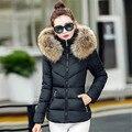 Jaqueta de inverno casaco de inverno Women2016 Nova Rússia menina Bonita Jaqueta de Algodão Quente Para Baixo Casaco Mulheres Grande gola de pele