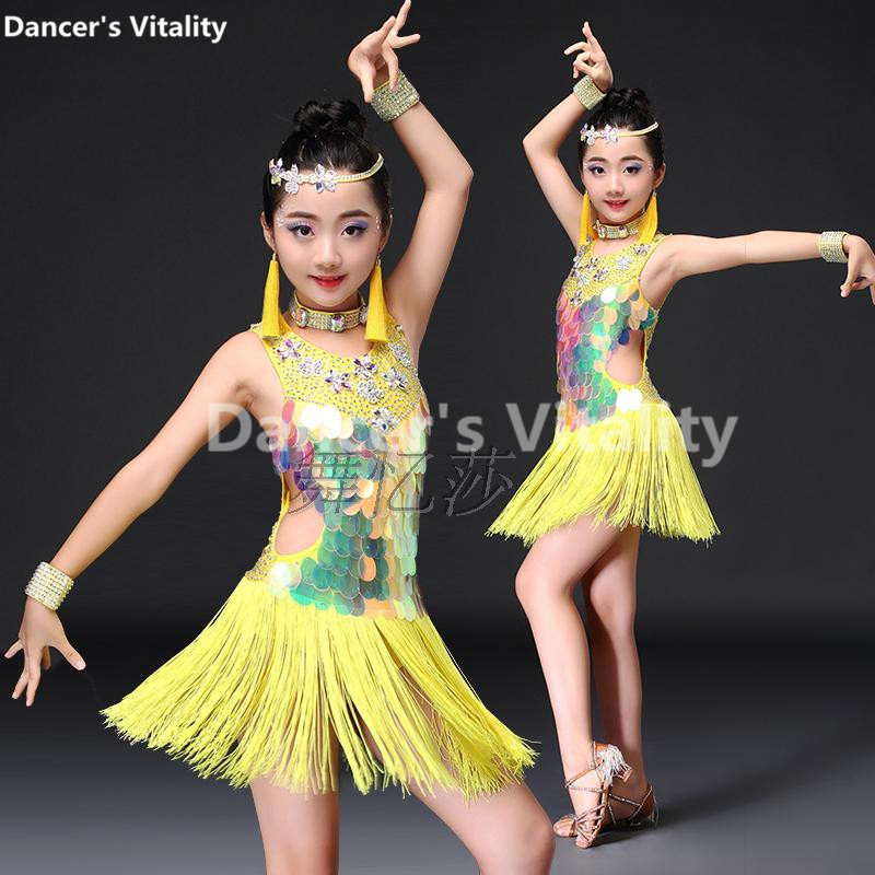 Здесь продается  Child Latin Dance Dresses Kids Ballroom Dance Costume Girl Modern Dance Dress Women Vestido Waltz Stage Dance Clothing S-3L  Одежда и аксессуары