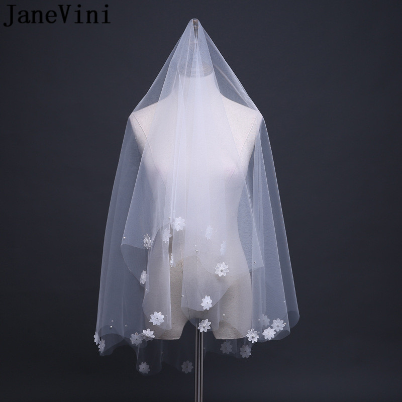 JaneVini Ivory Bridal Veil Pearl Cut Edge Soft Tulle Handmade Flowers Applique Short Wedding Veil for Bride No Comb Accessories