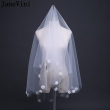JaneVini Ivory Bridal Veil Pearl Cut Edge Soft Tulle Handmade Flowers Applique Short Wedding for Bride No Comb Accessories