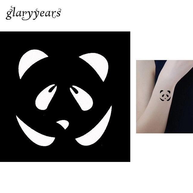 1 Piece Small Henna Tattoo Stencil Hand Body Art For Women Cute Panda Design Airbrush Painting Indian Henna Tattoo Template G127