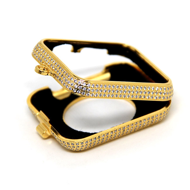 Di lusso di bling diamanti di strass incrostato 24kt carati placcato oro gioielli collana della vigilanza della copertura di caso per Apple osservare series1 & 2 e 3 - 3