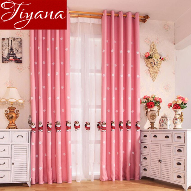 Pink Curtains Christmas Embroidered Voile Modern Living Room Kids ...