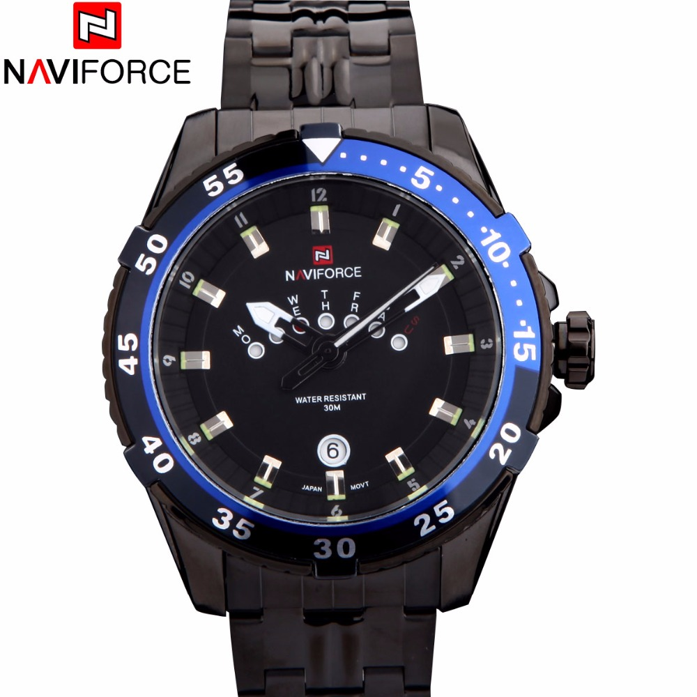 Fashion Casual Brand NAVIFORCE Men Watches Unique Date Week Design Analog Watch Full Stainless Steel Black Strap WristWatches one piece vintage screw shape earring for men