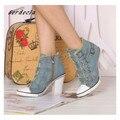 Women Winter Superstar Chunky Heels Denim Shoes Canvas short Boots belt buckle High Heels Jeans sexy lady shoe
