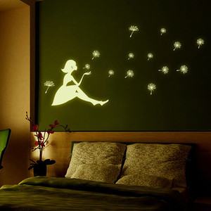 Dandelion Girl Luminous Wall Stickers Glow In The Dark DIY Wall Mural for Bedroom Living Room Wall Decals Art Home Decoration