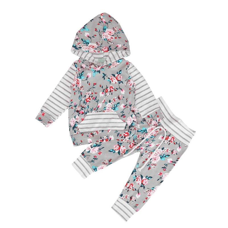 2pcs/Set Baby Girls Clothes Long Sleeves Stripe Flower Hooded Pocket Tops + Pants Autumn Warm Cotton Baby Clothing