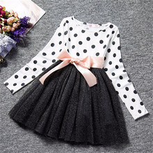 Dot Long Sleeve Dress For Girls Clothing Child Costume Baby Girl Clothing Teenager School Daily Wear Sashes Kids Casual Clothes cheap Children Regular children casual dresses Ball Gown Polyester Cotton Full Knee-Length Fits true to size take your normal size