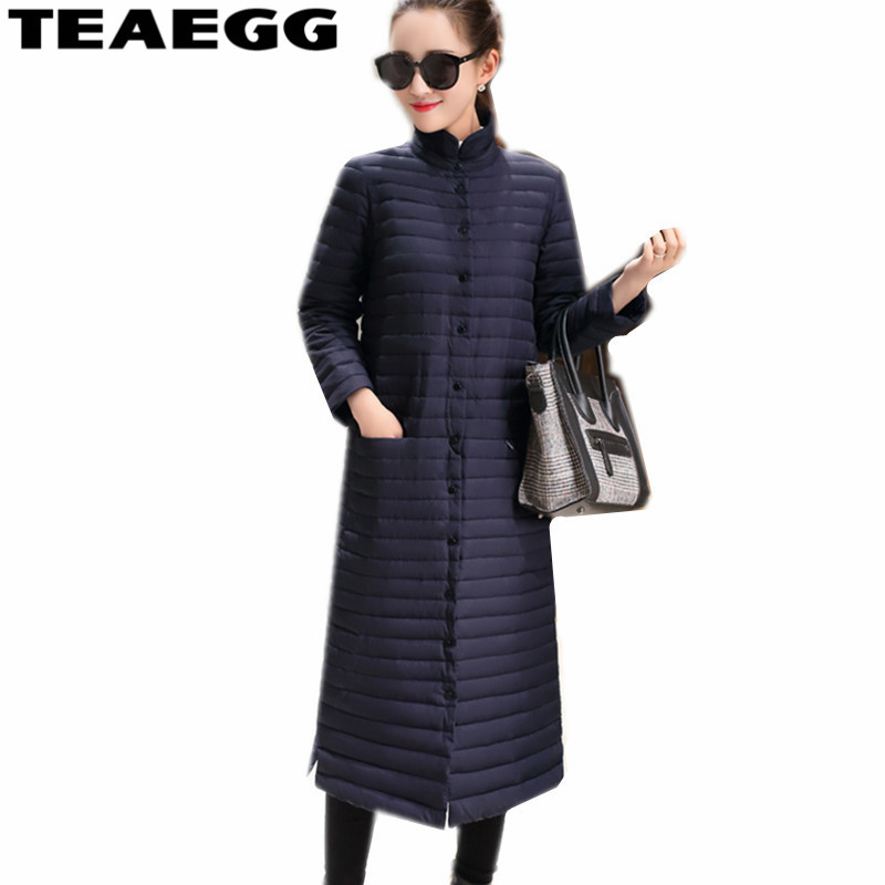 TEAEGG Chaquetas Mujer White Duck Down Jacket Women Navy Stand Collar Plus SIze 5XL 6XL Ultra Light Down Jacket Female AL279