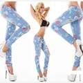 2017 Moda Azul Pantalones Lápiz Encuadre de cuerpo entero Casual Delgado Ripped Jeans Cintura Baja Pintadas Pantalones Mujer Sexy Girls Pantalones