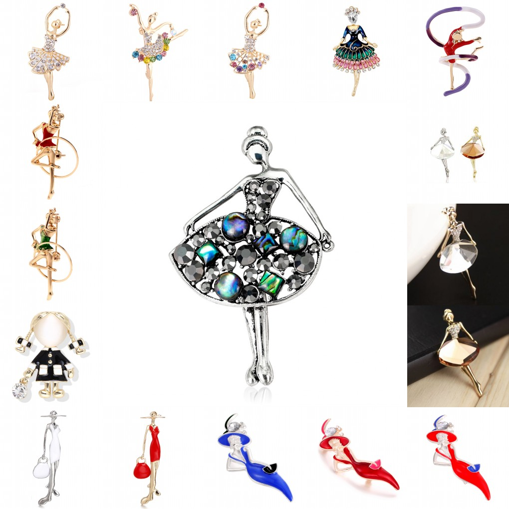 <font><b>16</b></font> Styles Trendy Crystal Brooches <font><b>Sex</b></font> Modern Lady Model Dancer Ballerina Brooch Female Hat Sweater Badge Pins For Girls Women image