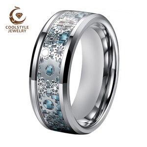 Мужские и женские вольфрамовые свадебные ленты, кольцо для помолвки с механическим зубчатым колесом, светло-голубой инкрустацией из углеро...