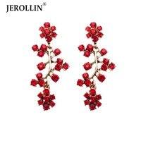 JEROLLIN Jewelry Gold Color Alloy Stud Red White Blue Green Brown Drop Rhinestones Earrings For Women