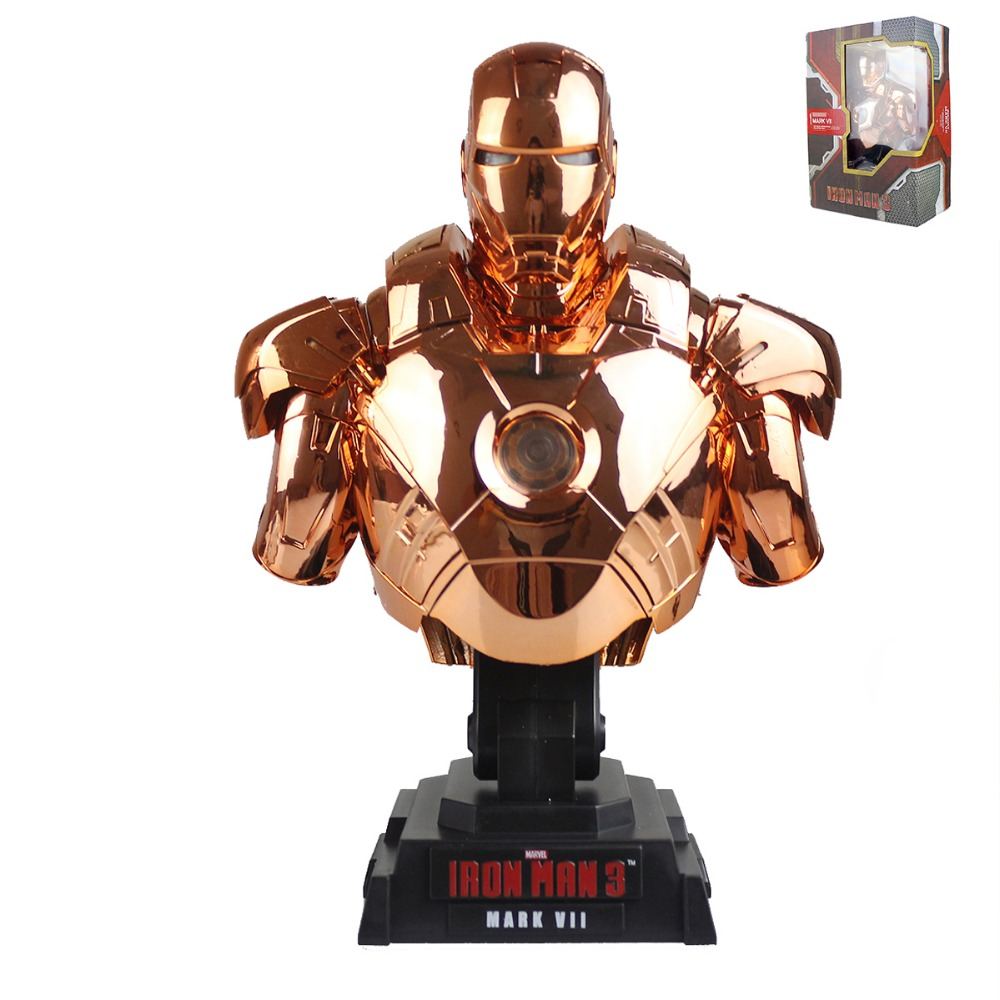 Iron Man 3 Mark VII MK7 1/4th Scale Limited Edition Collectible Bust Figure Golden Model Toy DC008077 DC008078