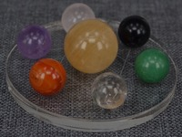 Feng Shui Natural 20mm--30mm Multicolor Crystal Globe Sphere Balls Seven Star Array Decoration Craft With 10cm Acrylic Stand