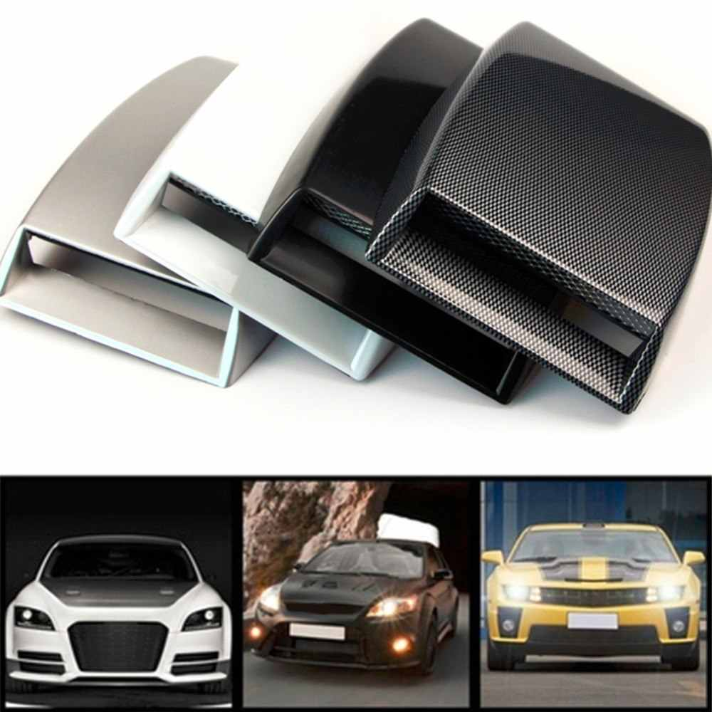 Automobiles 2 Kleur auto styling Universal Decoratieve Air Flow Intake Scoop Turbo Bonnet Vent Cover Hood koolstofvezel/zwart HOT