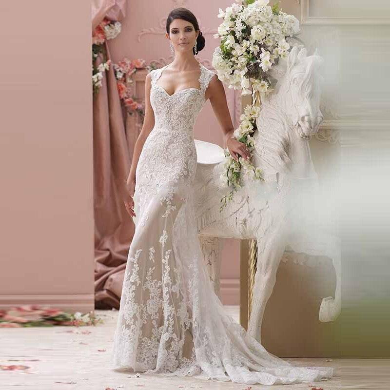 2016 New Arrival High Quality Lace Appliques Backless Sweetheart Neckline Mermaid Wedding Dress Custom Made vestido de noiva