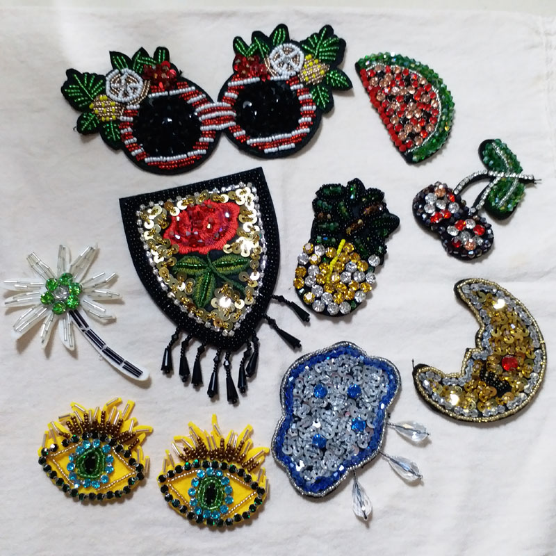 Bees With Beaded Eyes Embroidered Iron-On Fabric Appliqué