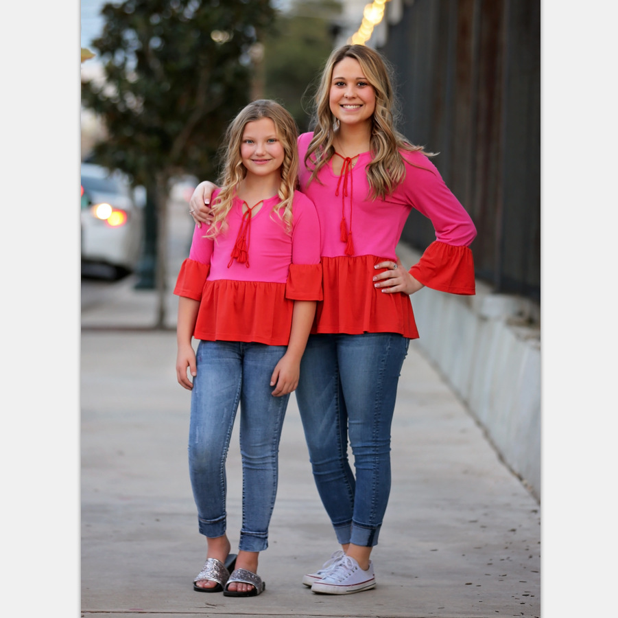T-Shirt Outfits Family Matching Polyester Daughter New Mommy And Me Tops Speaker-Sleeve