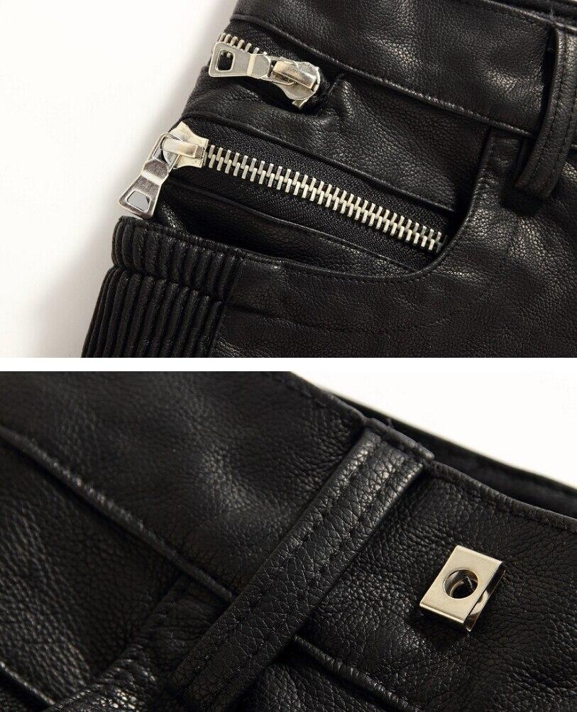 Размеры: 28-38! Европейский стиль Мужские Брендовые повседневные мотоциклетные панк тонкие маленькие прямые потертые кожаные брюки костюмы брюки