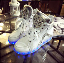 High Quality 2016 New Fashion Bordered Rhinestone Led Light Up Shoes Women Luminous Casual Winter Glowing Usb Charge SS1609004