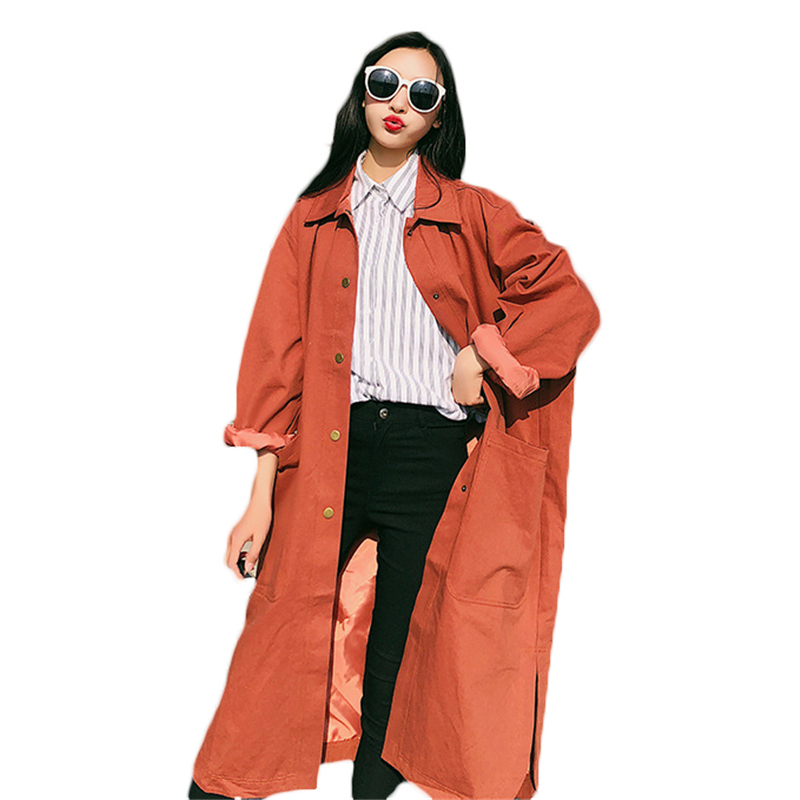 2018 New Spring Autumn Women Loose Long   Trench   Coat Plus Size Single Breasted Overcoats Street Casual BF Windbreaker Female A603