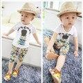 Мальчик летняя одежда комплект коротким рукавом + шорты детская одежда летний комплект ребенок мальчик одежды спортивный костюм мультфильм печать комплект