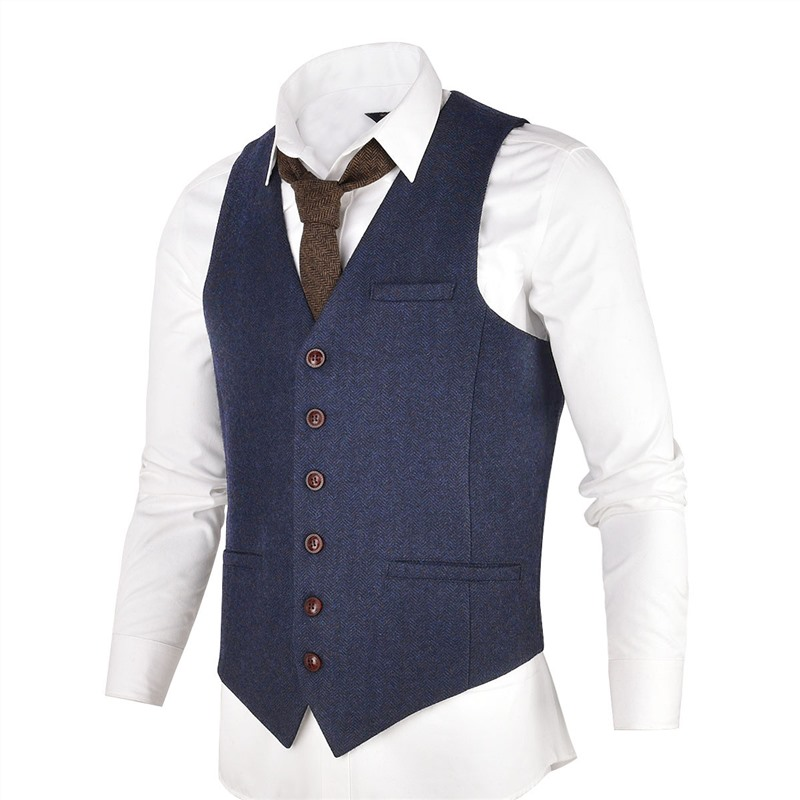 VOBOOM Blue Tweed Mens Vest Suit Modern Fit Wool Blend Single Breasted Herringbone Waistcoat Men Waist Coat For Man 007