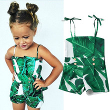 Одежда для новорожденных девочек с принтом в виде листьев, с открытыми плечами, на пуговицах, летний детский комбинезон без рукавов, хлопковый комбинезон для малышей, цельнокроеный