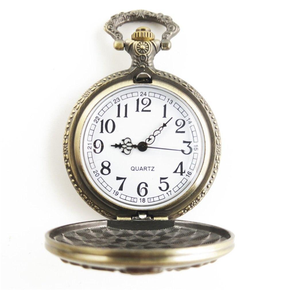 GENBOLI Goldfish Carved Vintage Antique Round Dial Quartz Steampunk Pocket Watch Necklace Pendant Clock For Mens Womens