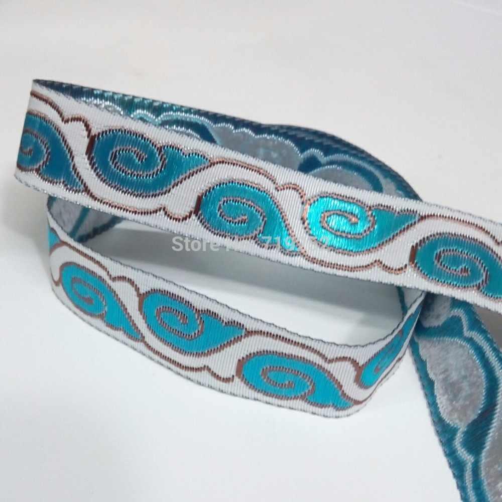 2 cm 20mm 7/8 ''Mercerização Céu Azul Moiré Branco Vestuário Traje Cão de Estimação Colarinho Guarnição Bordado Jacquard Nacional fita Webbing
