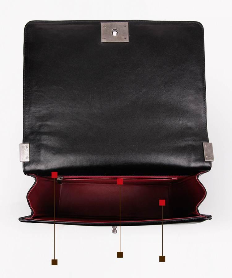 genuine leather messenger bag boy chains flap bag handbag women 100% sheepskin  classic luxury brand crossbody bag black white-in Top-Handle Bags from ... b97309f3c8dd