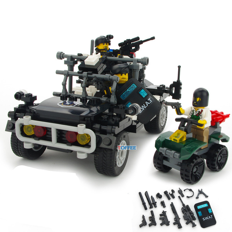 246pcs Assault Vehicle SWAT Military WW2 Soldiers Army Navy Seals Team Special Forces Mini Building Blocks Figures Toys Boys Set 8 in 1 military ship building blocks toys for boys