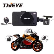 Thieye moto uma câmera do veículo da motocicleta carro dvr motor traço cam 1080 p com lente dupla portátil frente traseira filmadoras
