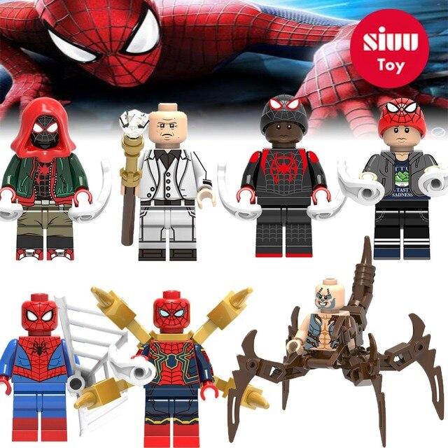 Para Legoing Spiderman Super-heróis Homem De Ferro Thor Loki Deadpool Gwen Aranha homem batman Avengers Building Blocks Brinquedos Figura