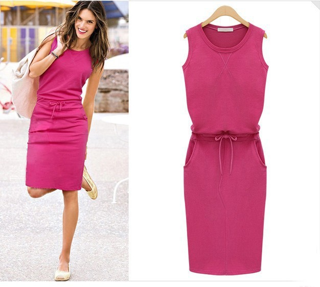 2018 Summer <font><b>Dress</b></font> Women O-neck Sleeveless Casual Work Office <font><b>Dresses</b></font> Bodycon Slim Grey Pencil <font><b>Dresses</b></font> Mujer Femme J2218 image