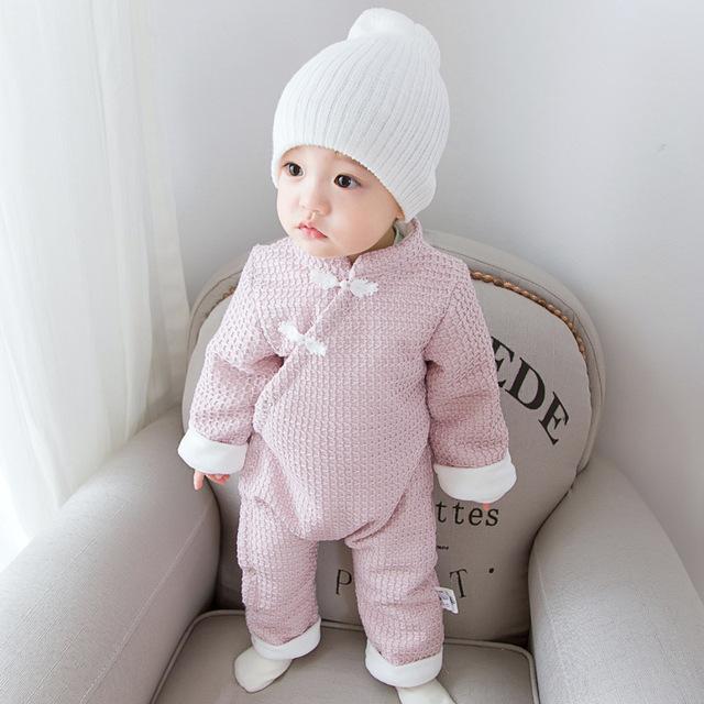 Bonito Inverno Quente manga Comprida de Lã Infantil Inverno Romper Do Bebê Menino Menina Macacão Meninos Meninas Estilo Chinês Jacquard Geral