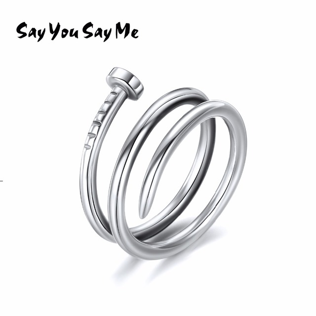 925 Sterling Silver Rings Wholesale Wedding&Engagement Long Rings Punk 2018 New