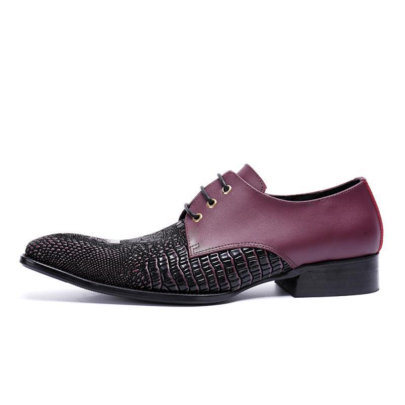 Masculinos Italiano Sapatos Negócios Calçados Lace Men Flats Glitter Homens Vermelhos Shoes up Casamento Vestido Genuíno Oxfords Couro 0CqEf