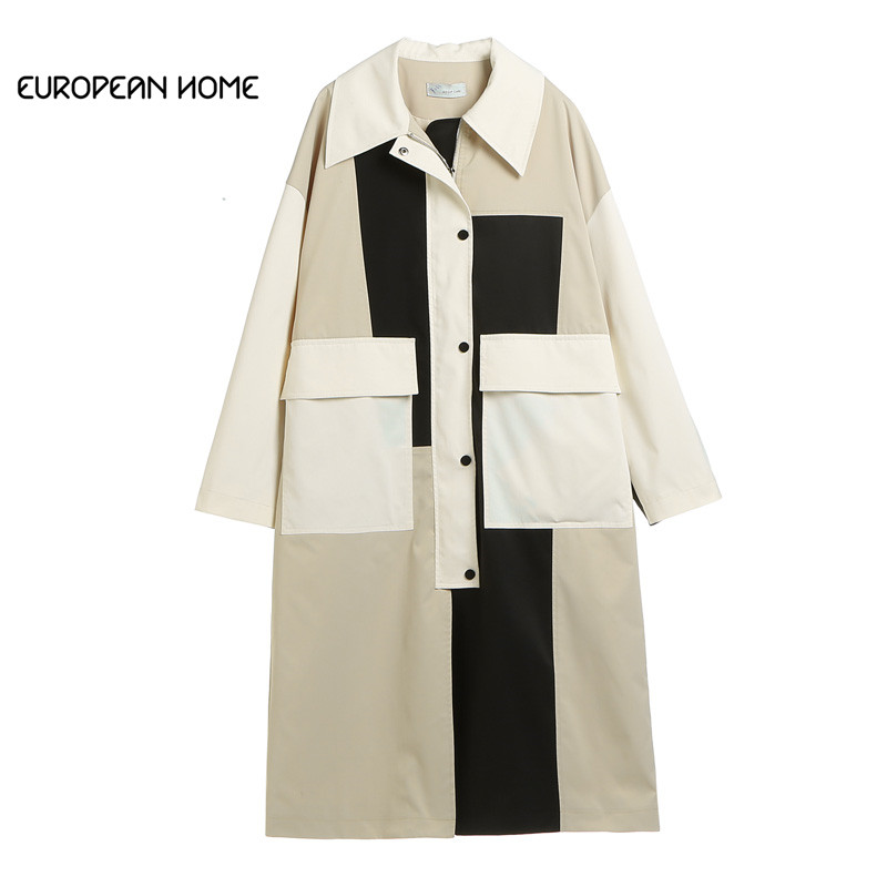 2019 Original Designer Spring   Trench   coat Women Plus size Clothes White Patchwork Black Casual Long Loose Windbreaker Outerwear