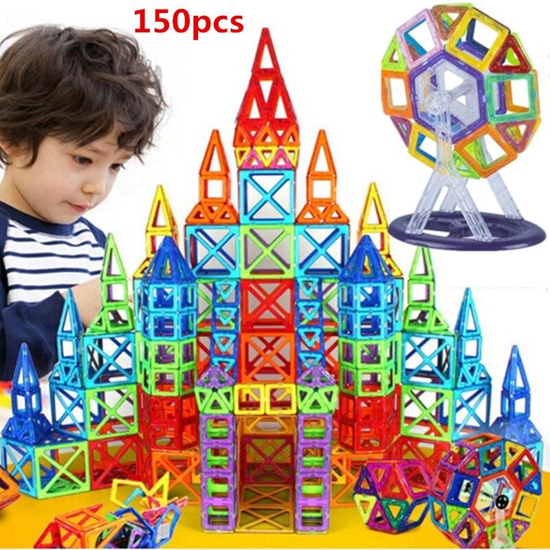 150pcs/set Mini Size Magnetic Designer DIY Building Blocks Model Parts Construction Toys For Forddlers Magnetic Square Triangle qwz new 110pcs mini magnetic designer construction set model