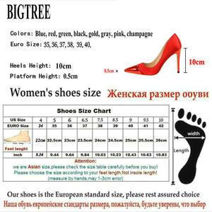 "Image 5 - BIGTREE 2019 אופנה 10 ס""מ גבוהה עקבים נשים ולנטיין כחול משאבות נקבה סאטן פגיון העקב Tacones פטיש משי גליטר אדום נעליים"