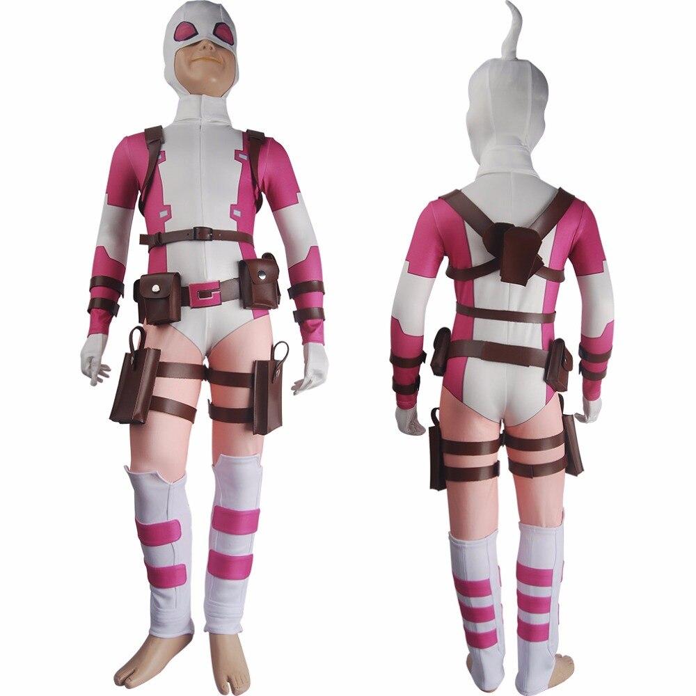 Здесь продается  Kids Girls X-Men Deadpool Gwenpool Gwen Stacy Cosplay Outfit Full Set Halloween Costume Deluxe  Одежда и аксессуары